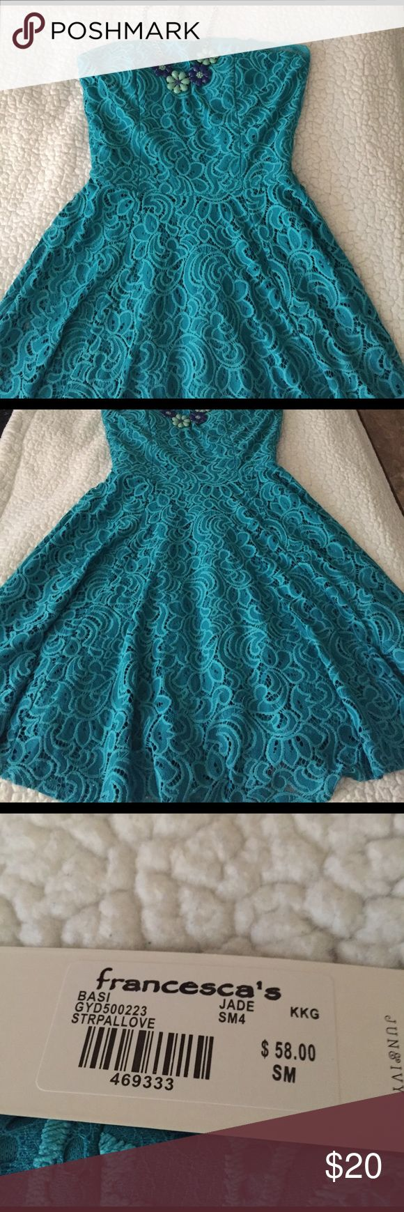 Aqua color dress 👗 Gorgeous embroidered dress! New with tags! Perfect dress for spring. 🌸🌺🌹 Francesca's Collections Dresses Midi