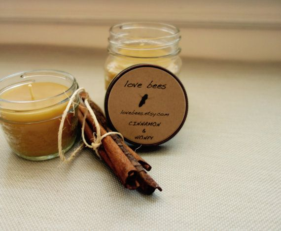 Cinnamon & Honey Beeswax Candle Mason Jar by LoveBees on Etsy