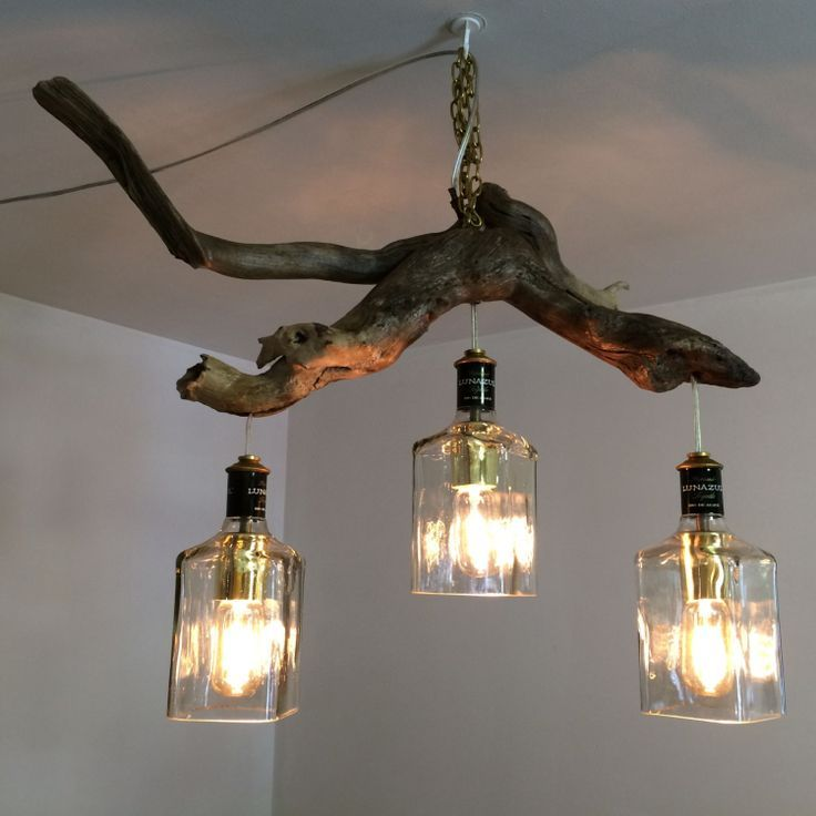 Lunazul Tequila Bottle Driftwood Hanging Light By Pmglassart Modern Interior Decor Tree Branch Decor Branch Decor