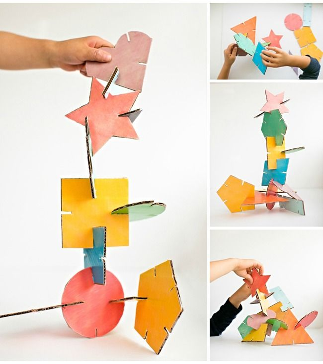 Make these fun geometric cardboard sculptures with the kids. Free printable template with 12 colored shapes included! fun craft for toddlers