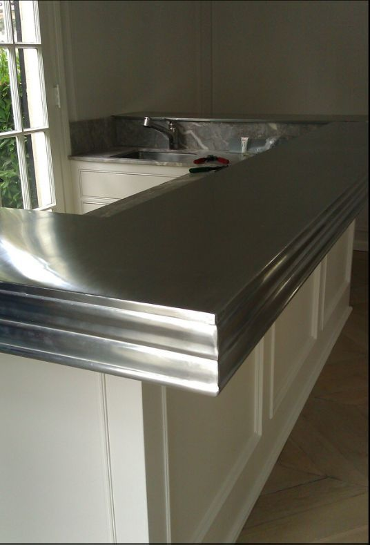Zinc sheet metal counter top.