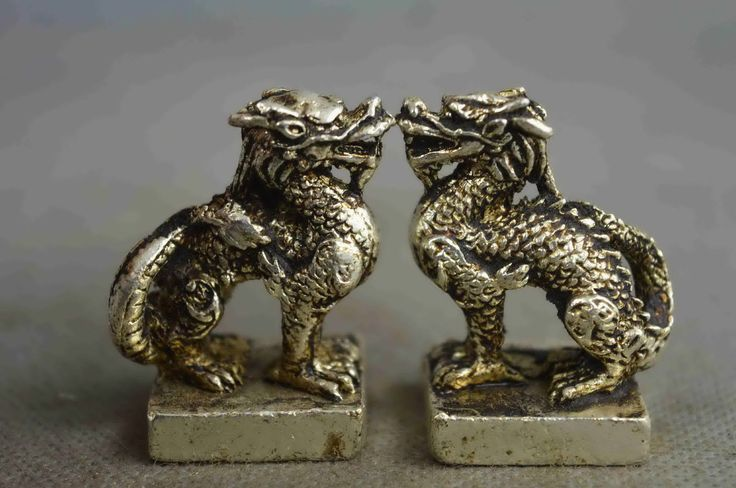 Collectible Handwork Old Miao Silver Carve Might Dragon Ancient Exorcism Statues | eBay