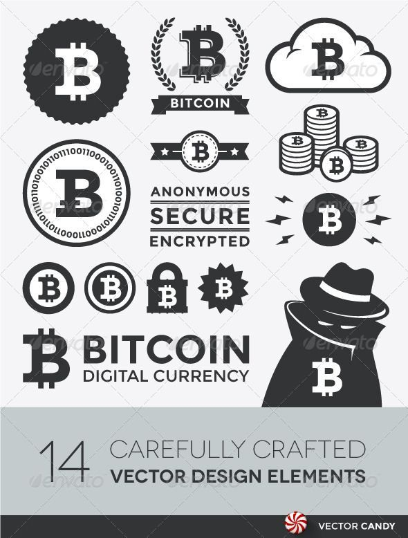 Vector Bitcoin Design Elements and Labels - GraphicRiver