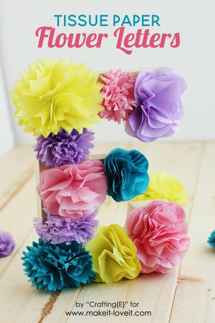 How To Make Tissue Paper Flower Letters   via www.makeit-loveit.com
