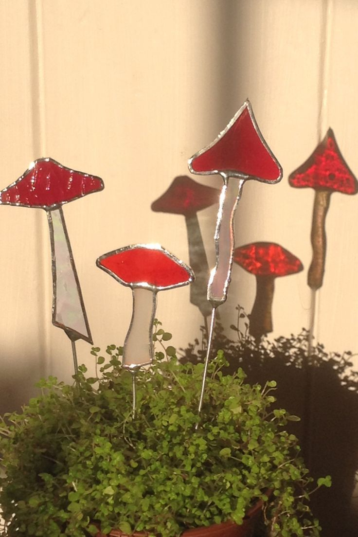 Stained Glass Sun Catcher Flower Pot Stakes. Set of 3 Mushrooms,Garden Art,Plant Stake,Spring Gift,Magic Mushroom,Fly Agaric,Toadstool,Fairy by WylloWytch on Etsy