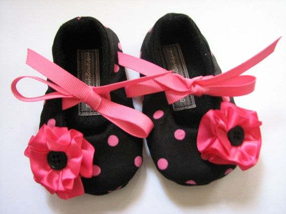 Hot Pink on Black Baby Soft Ballerina Slippers from Poshbaby.com