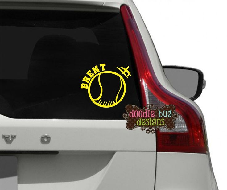 Personalized tennis ball car decal