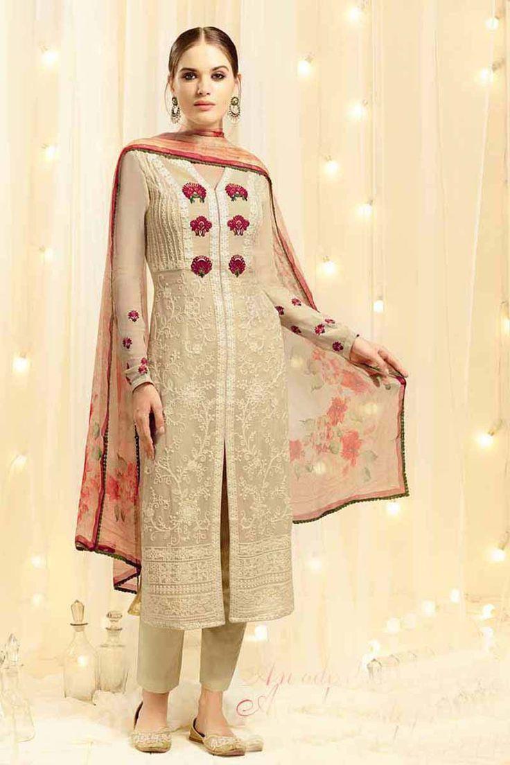 Cream Cotton Party Wear Salwar Kameez