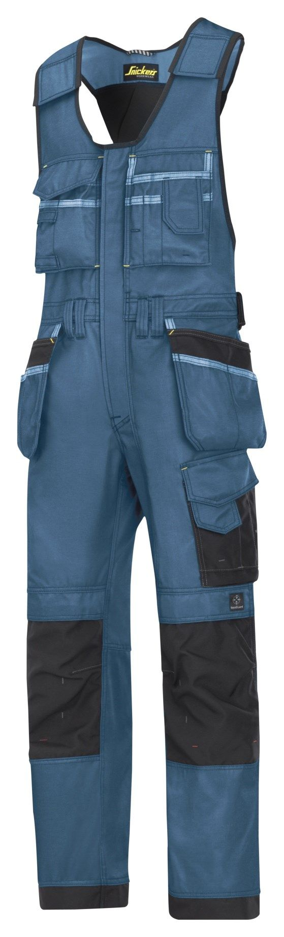 Extremely hard-wearing onepiece trousers with holster pockets made in dirt repellent DuraTwill fabric. Features an advanced cut with Twisted Leg™ design, Cordura® reinforcements for extra durability and Velcro tool fasteners, plus advanced knee protection and a comprehensive range of pockets.