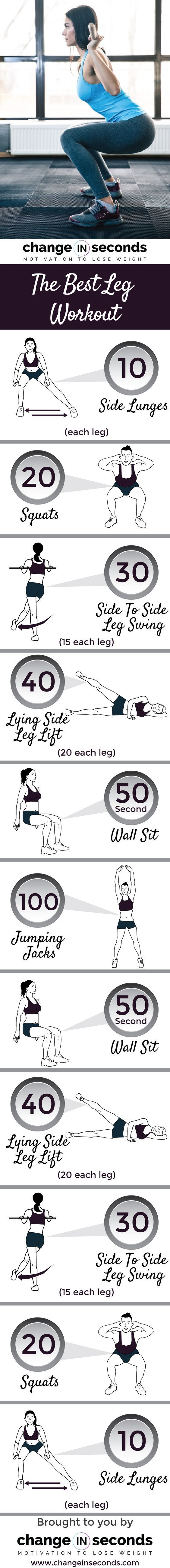 The Best Leg Workout (Download PDF) - From Change in Seconds :: /changeinseconds/ :: | Glamour Shots Photography << fitness infographic >>