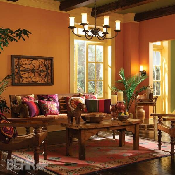 Behr Paint. Living room colors!  Walls: Amber Wave 260D-5  Ceiling: Grape Leaves 400D-6  Trim: High Plateau 300D-4
