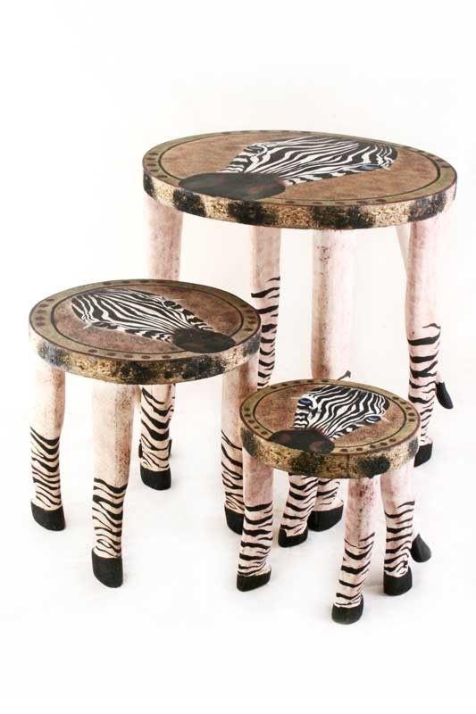 Swahili Fair Trade Zebra Wooden Safari Stools A safari-themed set for both functional and decorative use. The Zebra Wooden Safari Stools are a playful blend of traditional craft and safari adventure.