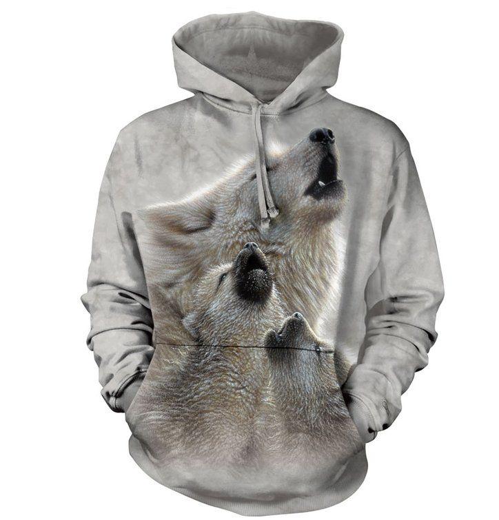 Mikina s kapucí vyjící vlci | Dedoles