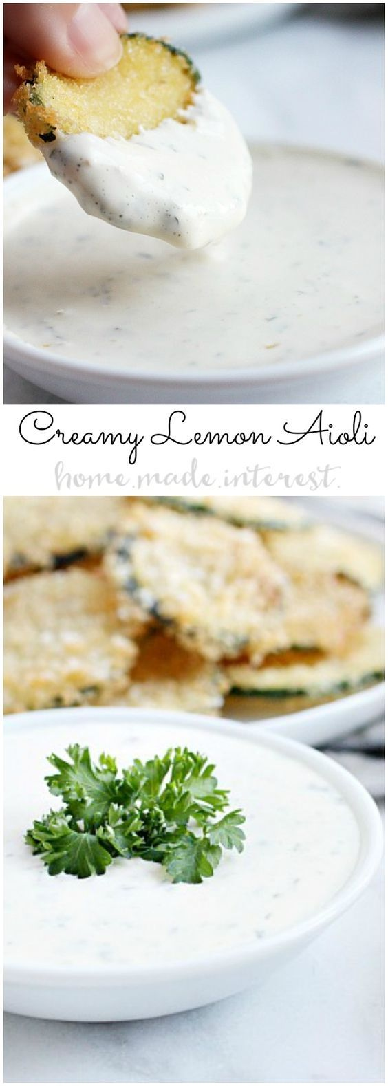 This easy Lemon Aioli is a creamy, tangy sauce that is perfect for dipping your fried zucchini chips.