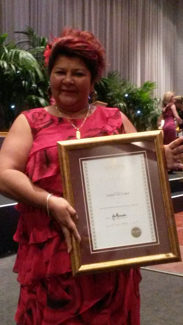 Proud consultant with her award
