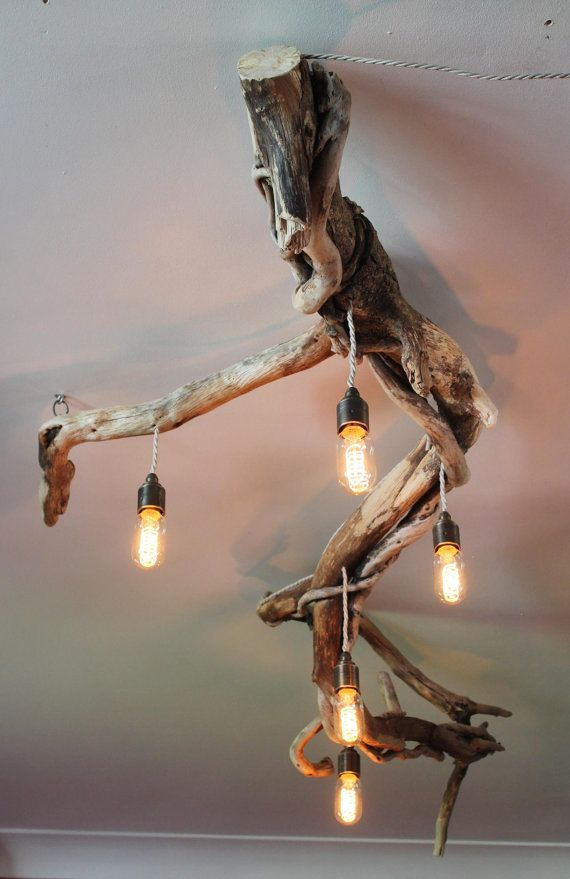 Driftwood Chandelier,Vinatge filament bulbs,Vintage filamnet pendant chandelier, Driftwood five light Fitting, Drift Wood Lighting