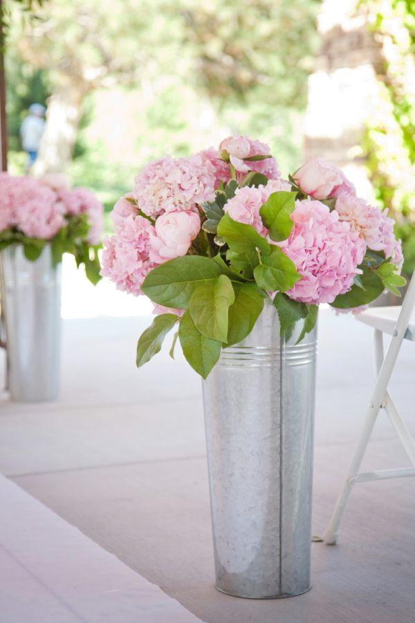 Pink Hydrangeas in Tin Buckets | floral design by http://www.boiseatitsbestflowers.com/|   photography by http://www.tanaphotography.com/ | wedding planning by http://www.weddingsbysoiree.com/