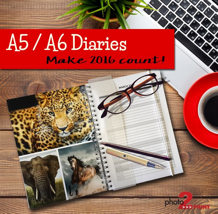 Keep your days organised with this 2016 Diary. Personalise each month with great photographs. http://photo2print.co.za/diary-a5-a6/