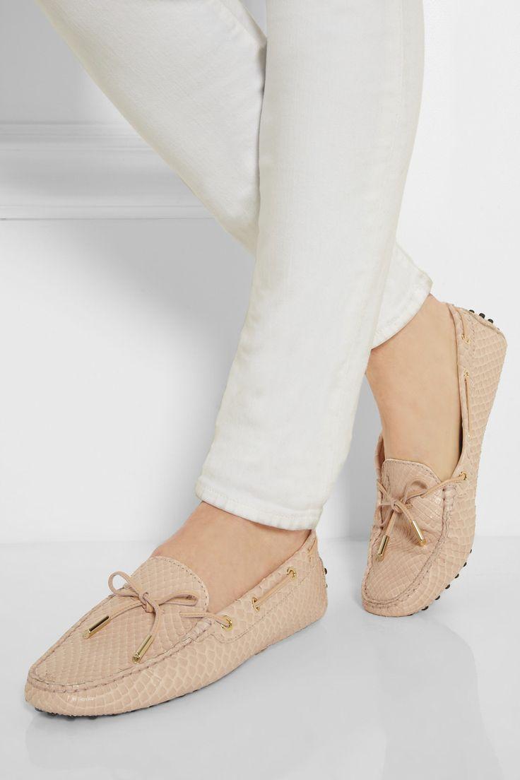 Classic Fashion Blush Tod's Gommino Python Loafers
