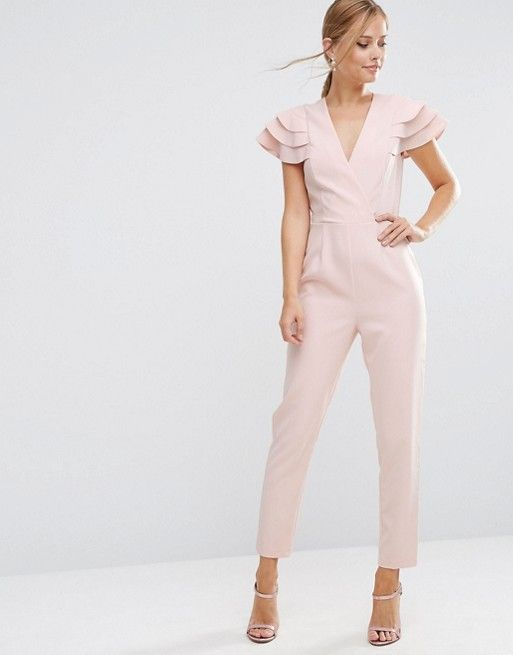 ASOS | ASOS Wrap Jumpsuit with Frill Sleeve