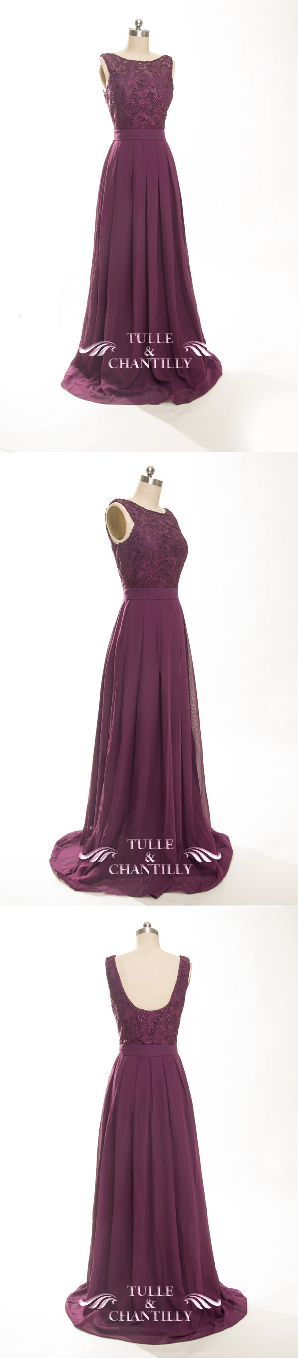 aubergine lace and chiffon bridesmaid dresses for fall wedding ideas