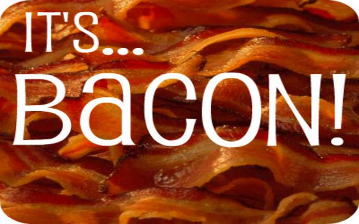 Bacon! - A signature blend made with Adagio Teas by Charlotte Ellett. This tea contains lapsang souchong, apple and caramel flavored Ceylon tea. This really does taste like bacon. It's freaky good!