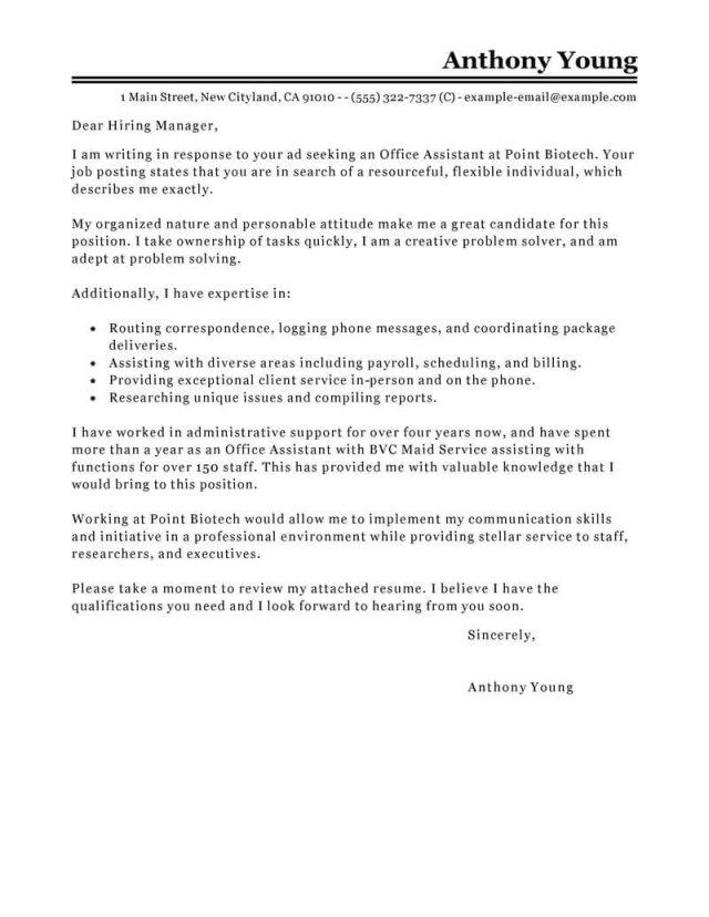 25+ Office Assistant Cover Letter . Office Assistant Cover Letter ...