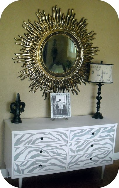 Love this dresser. How cool would this pattern look on the dresser/tv stand... to go with the blue night stand :)