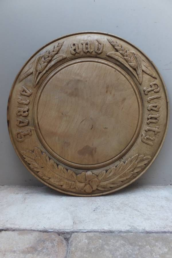 Victorian Deeply Carved Bread Board - Peace and Plenty