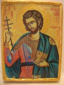 Saint Emilian Emilianus Rare Christian Religious Icon Art on Aged Wood Plaque