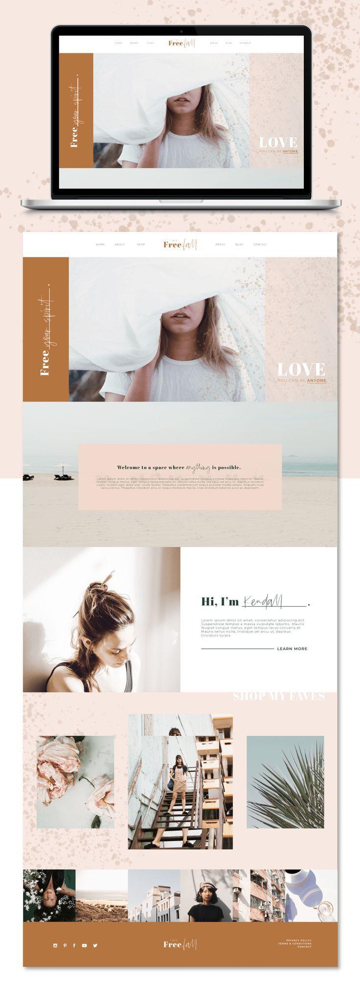 Minimal website design, minimal blog design, customizable blog template, customizable website template, neutral color palette, minimal branding #webdesign #wordpresstemplate