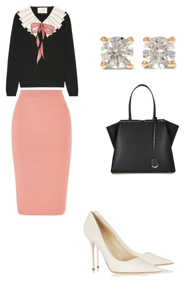 Chic work outfit by the925editor on Polyvore featuring Gucci, STELLA McCARTNEY, Jimmy Choo, Fendi and Anita Ko