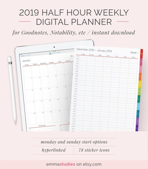 2019 Digital Vertical Half Hour Weekly Planner With Tabs