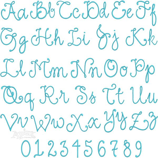 "Baton Rouge Embroidery Fonts. Uppercase and lowercase full alphabet sets and numbers. You get three Size: 2"", 3"" and 4"""