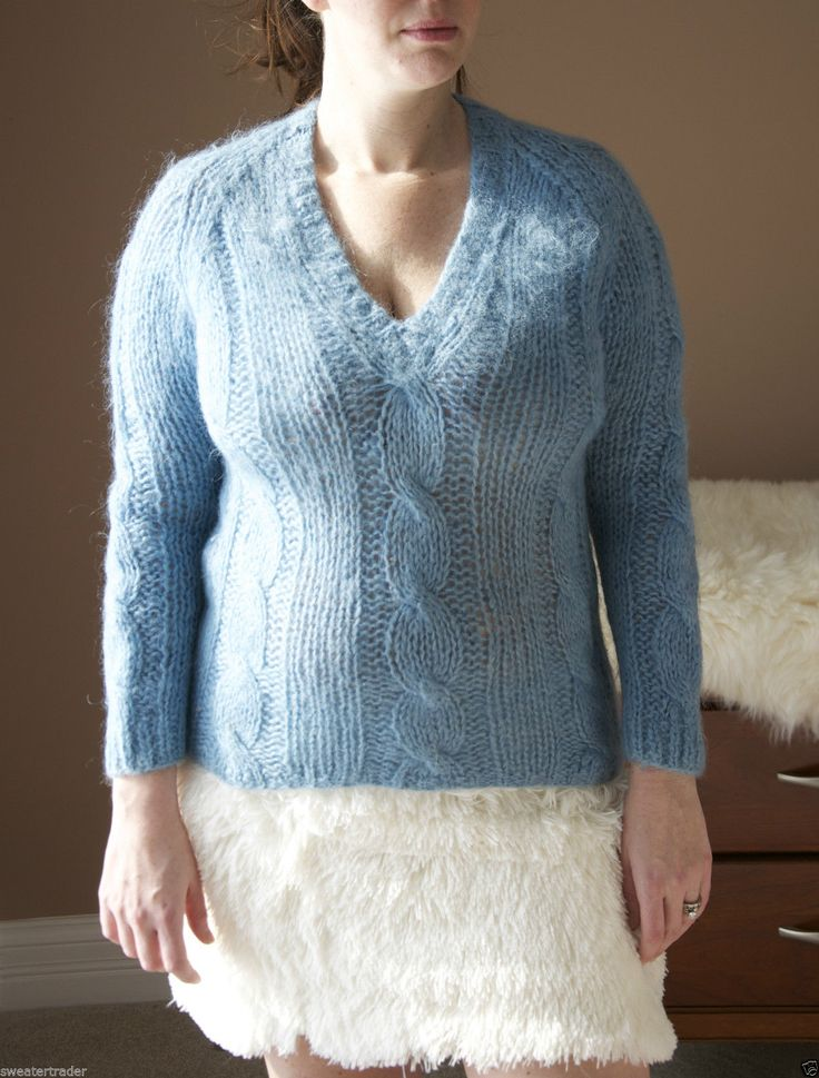 Vintage Mohair Wool Sweater Cable Knit Furry Fluffy