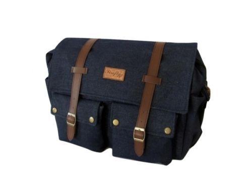 "Men's Denim Suede Satchel 14"" Laptop Shoulder Messenger School Work Travel Bag   eBay"