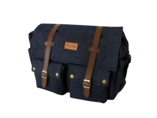 "Men's Denim Suede Satchel 14"" Laptop Shoulder Messenger School Work Travel Bag | eBay"