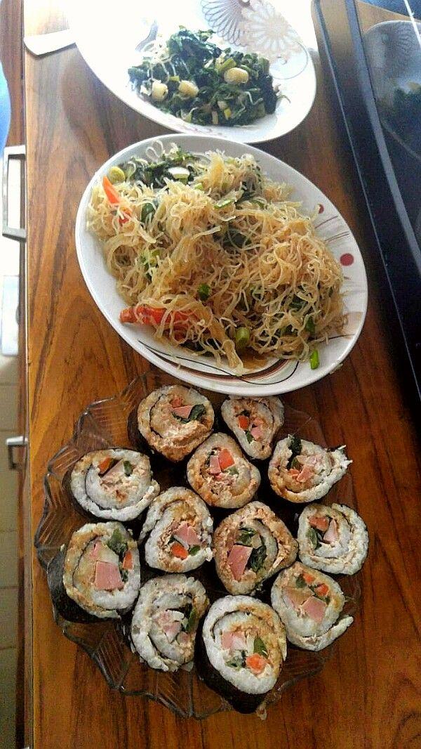 Korean Buffet   Kimbap plate  Jabchae plate  Sigeumchi Namul salad