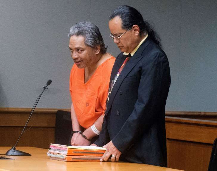 """FILE - In this April 5, 2017, file photo, Peter Kema Sr., left, pleads guilty to manslaughter and first-degree hindering prosecution, in Hilo Circuit Court in Hilo, Hawaii, in the death of his son, Peter Kema Jr., also known as """"Peter Boy,"""" who went missing in 1997. Kema Sr. pleaded guilty to manslaughter in exchange for a 20-year sentence on the condition that he reveal the location of the child's remains. (Hollyn Johnson/Hawaii Tribune-Herald via AP, Pool, File)"""