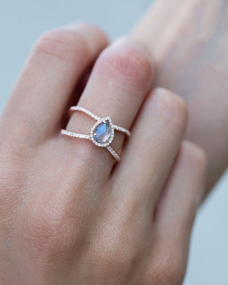 14kt gold and diamond Double Band Teardrop Labradorite ring – Luna Skye by Samantha Conn