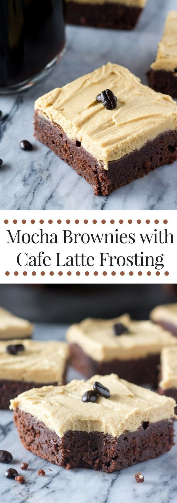 Mocha Brownies with Cafe Latte Frosting. These fudgy brownies are infused with coffee and topped with cream coffee flavored frosting.