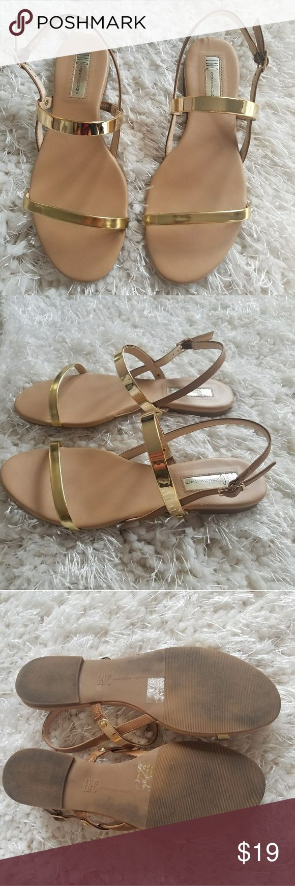 Gold Strappy Sandals EUC I've worn these a few times they are still in excellent shape, size 7.5 from Macy's,  INC brand. 2 Gold straps across the top and the back strap is tan. INC International Concepts Shoes Sandals