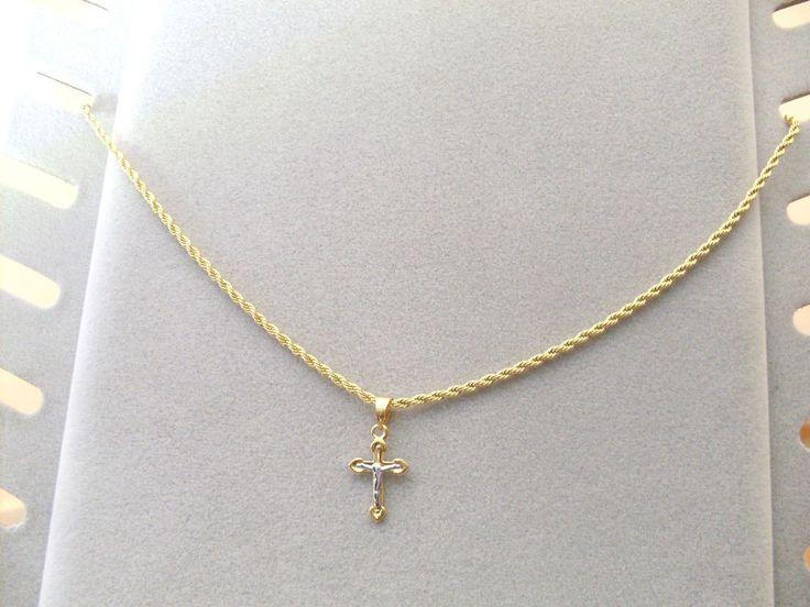 Collana Ciondolo Croce Oro con cristo Argento Uomo Donna Crocifisso Unisex
