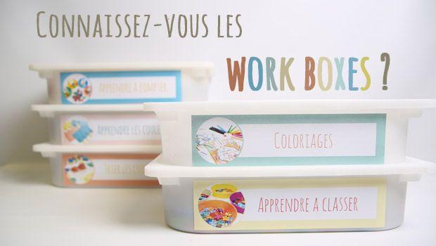 Les work quoi ? Les work boxes sont concrètement des boites d'activités pour les enfants ! Le concept ? Une boite d'activité correspond à une tâche précise comme par exemple le coloriage ou l'apprentissage des couleurs ! Dans chaque boite on dispose le matériel nécessaire à l'enfant pour qu'il puisse réaliser l'activité qu'il fera seul et quand il le souhaite ! Une méthode …