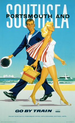 Southsea and Portsmouth : Go by Train (England, U.K.)  Vintage Raiways Beach Poster (1962). www.varaldocosmetica.it/en