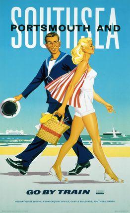 Southsea and Portsmouth : Go by Train (England, U.K.)  Vintage Raiways Beach Poster (1962). www.varaldocosmetica.it/en