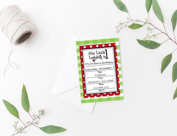 Buffalo Plaid Ladybug Invitation, Printable Ladybug Birthday Invitation, Fill in the Blank Invitation, Blank Invite by sunshinetulipdesign on Etsy