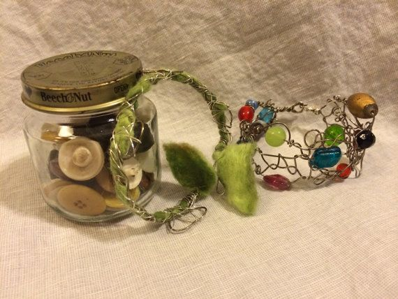 Wrapped Wire Bracelet with Felt Leaves Wire by RainasTextileHouse, $38.00