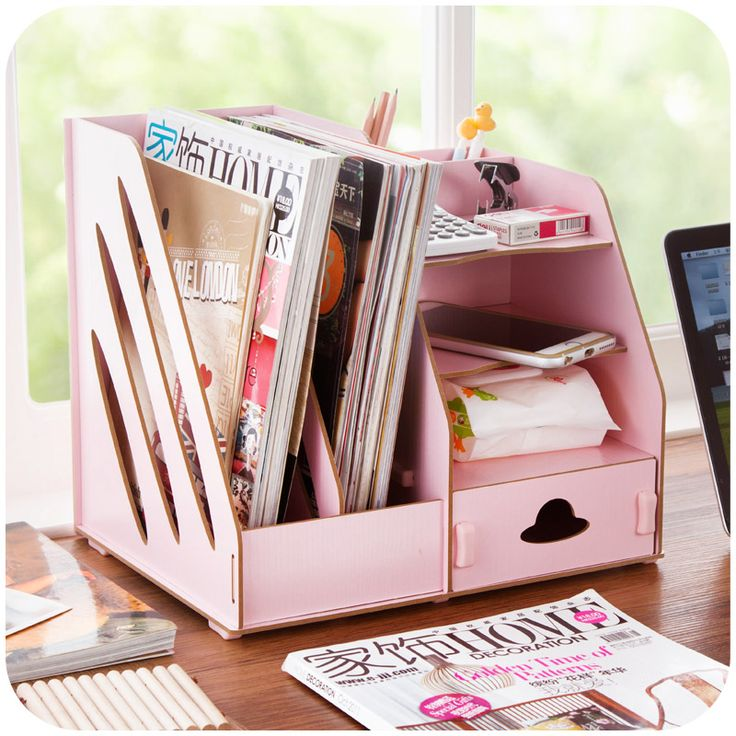 Creative DIY wooden storage box office files, desktop stationery drawers organize storage box(China