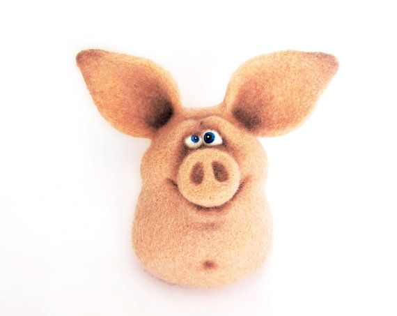 Needle Felted Toy - Funny Pig. Nice gift for everyone.  He needle felted from natural wool.  He measures approx 3.5 inch(9 cm) tall.    Feel free to